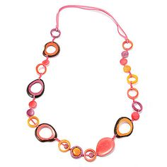 142-044 - Tagua Fashion Jewelry™ 35'' Multi Color Sliced & Cut-out Station Necklace