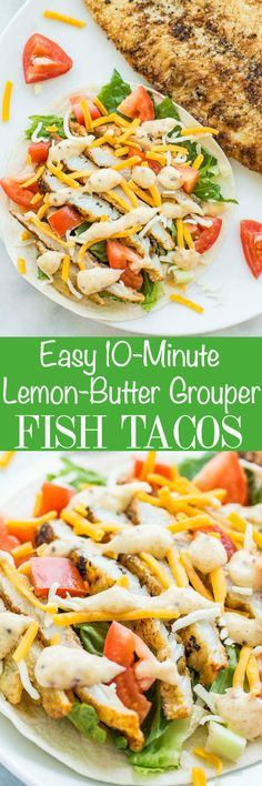 Easy 10-Minute Lemon-Butter Grouper Fish Tacos - Fast, fresh, and healthy! An easy fish taco recipe everyone loves! Lemony, buttery fish with a honey mustard-lemon sauce on top! Perfect for busy nights because they're so quick!!