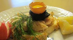 Smørrebrød Smoked White Fish Sandwich with Caviar and Raw Egg Yolk