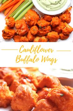 Vegan gluten free baked buffalo cauliflower wings that are crispy and moist. Thi… Vegan gluten free baked buffalo cauliflower wings that are crispy and moist. This healthy recipe is simple and easy. The best appetizer, side dish, or entree! Healthy Superbowl Snacks, Healthy Vegan Snacks, Vegan Appetizers, Vegetarian Recipes, Healthy Recipes, Vegan Apps, Vegetarian Wings, Healthy Breakfasts, Thai Recipes