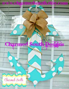 Wood Anchor Door Hanger, Charmed South Design, Front Door Decor, Party decor on Etsy, $42.00