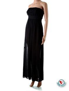 900d36304326 Dlhé letné šaty Butterfly Fashion čierne Nádherné dlhé čierne letné šaty  bez ramienok stiahnuté v páse
