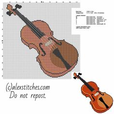 The violin musical instrument free cross stitch pattern