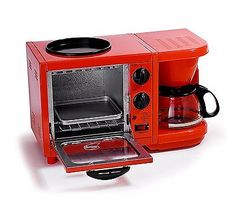 New 3-in-1 Kitchen Coffee Maker Toaster Oven Fry Griddle Breakfast Cooking Unit