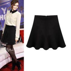 Lily Collins A Line Black Mini Skirt