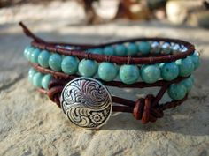 Bohemian Leather Wrap Bracelet Chalk Turquoise and Sterling Plated Double Wrap Bead Wrap