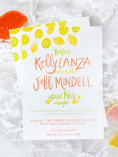 Kelly's Citrus-Inspired Bridal Shower Invitations: http://ohsobeautifulpaper.com/2014/09/citrus-inspired-bridal-shower-invitations/ | Design + Letterpress Printing + Photo: 9th Letter Press