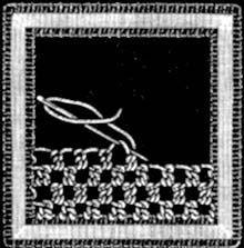 1er point ou point de tulle simple 2eme point ou point de tulle double shéma issu de: Encyclopedie des ouvrages de dame : Explications du 3eme point ou 3 point de dentelle shéma issu de: Encyclopedie des ouvrages de dame : 8eme point ou jour à pois 9eme...