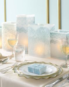 How to make lace vellum luminarias