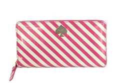 Kate Spade First Prize Lacey Striped Continental Zip Wallet, Snapdragon Pink/Cream