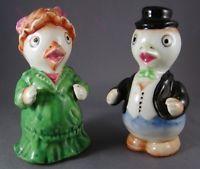 Vintage Mr & Mrs Duck Couple Porcelain Salt and Pepper Shakers Dressed Japan