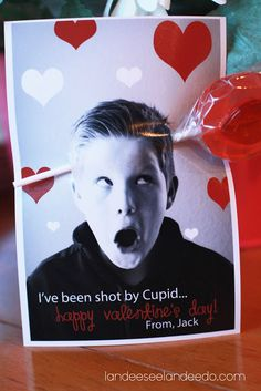 Valentine Photo Card Ideas - Landee See Landee Do. I've been shot by cupid....
