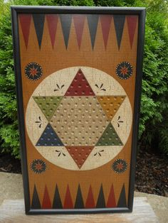 Primitive Chinese Checker Game Board Folk Art Antique Reproduction Wood Gameboard