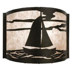 12 Inch W Sailboat Wall Sconce - Custom Made. 12 Inch W Sailboat Wall SconceA sailboat on a tranquil sea is depicted on thisnautical four sided pendant shade. The fixture is finished in Black, has Silver mica panels, and is handcrafted in the USA by Meyda artisans. Theme:  RUSTIC LODGE RECREATION Product Family:  Sailboat Product Type:  WALL SCONCES Product Application:  WALL SCONCE -- ONE LIGHT Color:  BLACK/SILVER MICA Bulb Type: MED Bulb Quantity:  1 Bulb Wattage:  60 Product…