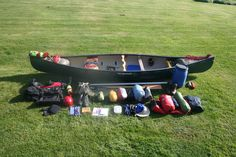 This is my canoe and kit needed for a 5 day expedition. Four main groups (1) Canoe/paddles/throw lines/pin kit/cordage (2) Clothes (3) tents/tarps sleeping bag, mat, torches (4) cooker/food/water. I still have a tendency to overpack which in part I out do