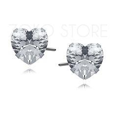 Srebrne kolczyki sztyfty z cyrkoniami w kształcie serca. Kolczyki oraz biżuteria…