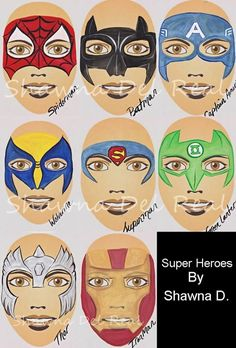 face painted super heros | Pinned by Kerry Lant