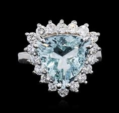 14kt White Gold 4 62 CTW Aquamarine and Diamond Ring Lot 145 | eBay