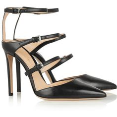 Gianvito Rossi Buckled leather pumps (1,310 ILS) ❤ liked on Polyvore featuring shoes, pumps, heels, leather pumps, black strappy pumps, pointed toe pumps, pointed toe shoes and pointed-toe pumps