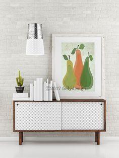 Artist Shanni Welsh's Mid Century Modern Pear art print. Retro pear poster. Kitchen wall art. Whimsical kitchen décor.