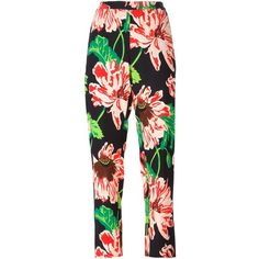 Stella McCartney floral trousers (5.300 ARS) ❤ liked on Polyvore featuring pants, capris, multicolor, cropped capri pants, floral print pants, floral trousers, high-waisted pants and floral crop pants