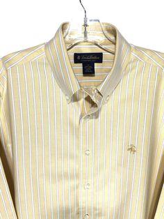 5d984165cb088 Brooks Brothers Supima Cotton Non Iron Yellow Striped Logo Button Shirt Men  M  BrooksBrothers Brooks