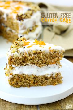 Gluten-Free Carrot Cake w/ Lightened-Up Cream Cheese Frosting // thehealthymaven.com #glutenfree #healthy