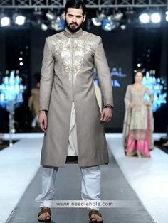 Ash gray #men's #sherwani in #raw silk fabric, heavy embellished collar and front http://www.needlehole.com/ash-gray-mens-sherwani-in-raw-silk-fabric.html #Deepak perwani men's sherwani and #wedding sherwani uk. Pakistani men's sherwani dresses, indian sherwani suits and #salwar #kameez collection by deepak perwani stores uk