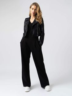Shop this stylish wide-leg trouser pant in Black. The Camden Wide Leg Pant is made with the softest organic cotton. It has a tailored finish and stylish front pleats. Available in a variety of trouser lengths. Trouser Pants, Wide Leg Pants, Wide Trousers, Black Trousers, Trousers Women, Jeans Palazzo, Red Leather Pants, Bathing Suit Bottoms, Women's Bottoms