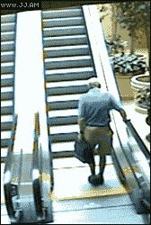 This is a hilarious animated gif of an elderly man slowly falling over onto a moving escalator before it brings him upwards as he's lying on his back. Description from jenniferlawrencegif.blogspot.com. I searched for this on bing.com/images