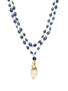Royal India Blue Sapphire, South Sea Pearl, & Diamond Pendant Necklace by Suneera at Gilt