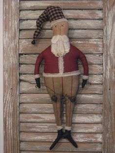 Primitive Painted Santa Doll  by Uptheatticsteps