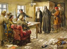 Interrogation in the committee of poverty <> Vladimirov Art <> The Russian Revolution is the collective term for a pair of revolutions in Russia in 1917, which dismantled the Tsarist autocracy and led to the eventual rise of the Soviet Union.