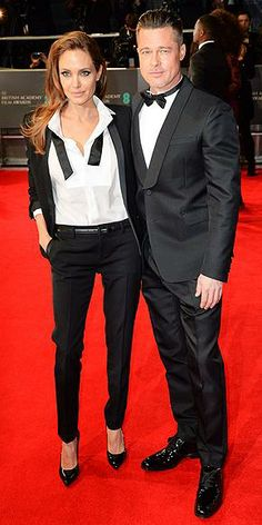 Who wears their tux at BAFTA better – Angelina (in Saint Laurent) or Brad? And how do you prefer it styled – with the bow tie untied or tied and with patent heels or patent lace-up flats? http://www.peoplestylewatch.com/people/stylewatch/package/gallery/0,,20768378_20787716,00.html