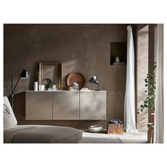 IKEA BESTA White, Riksviken Light Bronze Effect Wall-mounted cabinet combination Bronze, Ikea Dining Room, Soft Closing Hinges, Kitchen Decor Themes, Home Decor, Vintage Dressing Tables, Ikea Family, Ikea Storage, Knobs And Handles