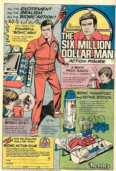 """The Six Million Dollar Man Action Figure """"Bionic Man"""" Comic Book Ad by Kenner"""
