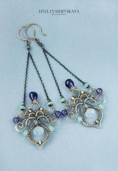 "Earrings ""The Violet NIGHTS OF SPRING"" - Earrings Brass, brass earrings, made of wire"