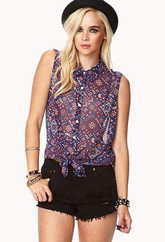 Paisley Self-Tie Shirt