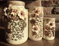 Mixed Media, Gear, Keys, Chalk paint, Vases made of glass jars. Vintage, Engranaje, Clave,  Pintura tiza,  Hueso de cereza, Floreros de vidrio. Befőttes üvegekből készített vázák.