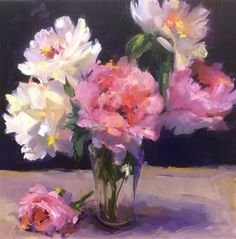 """Daily Paintworks - """"Peony Love Affair"""" - Original Fine Art for Sale - © Laurie Johnson Lepkowska Abstract Drawings, Oil Painting Abstract, Watercolor Art, Oil Paintings, Welcome Flowers, Still Life Art, Flower Aesthetic, Flower Art, Art Flowers"""