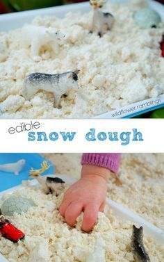 Children love to have opportunities to use their hands and explore various textures and tactile experiences! This edible snow dough is safe for little hands — it is perfect for toddlers, preschoolers, and kindergarteners alike because if they sneak a taste, you don't have to worry! We created a little small literary world with various small... Read More »