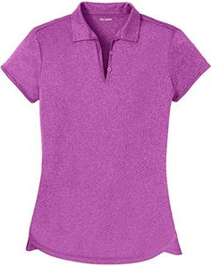 DRI-EQUIP Ladies Moisture Wicking Heather Golf Polos in XS-4XL >>> Continue to the product at the image link.
