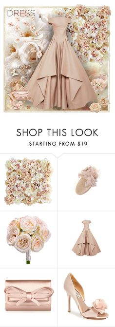 """""""Spring Trend: Off-Shoulder Dresses"""" by dezaval ❤ liked on Polyvore featuring BasicGrey, Pier 1 Imports, JANE TAYLOR MILLINERY, Zac Posen, Valentino and Badgley Mischka"""
