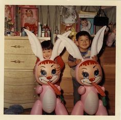 vintage Easter bunnies and toys