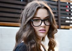 A girl with brown hair, hazel eyes, and nerdie glasses | Nerd Girl Glasses | From The Loft Above