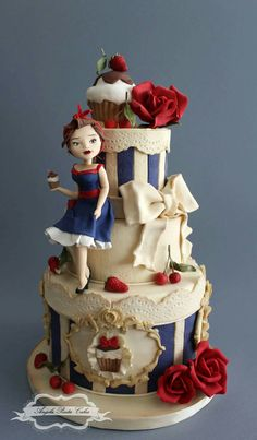 The cupcake lady cake by Angela Penta Gorgeous Cakes, Pretty Cakes, Cute Cakes, Amazing Cakes, Fondant Cakes, Cupcake Cakes, Bolo Barbie, Teen Cakes, Fantasy Cake