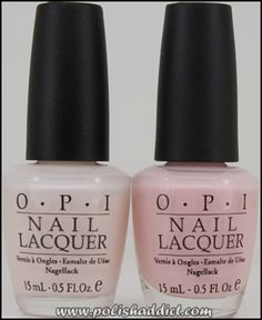 2 versions of OPIs Bubble Bath nail polish/gel! The one on the left is the original version, a soft milky-white with pale pink undertones. The one on the right is OPIs newer version, a sheer, pale pink. Both are beautiful.