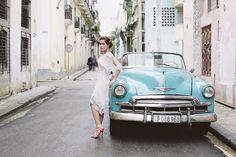 Havana Cuba destination wedding inspiration shoot with a vintage Cuban car.