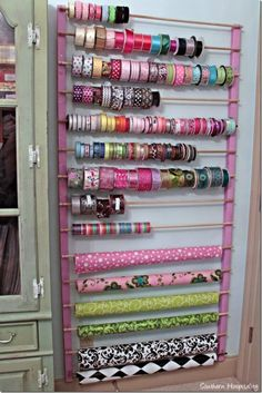 Clever ribbon and storage idea!  #organization #craftroom #craftideas #storage