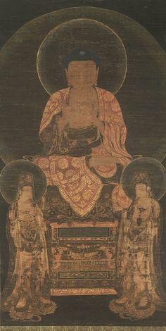 아미타삼존불(阿彌陀三尊佛). Amitabha Triad, Goryeo dynasty (918–1392), 13th century. 메트로폴리탄미술관 소장